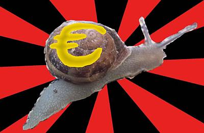 Finance Mixed Media - Euro Slugs It Out At A Snail's Pace by OptionsClick BlogArt