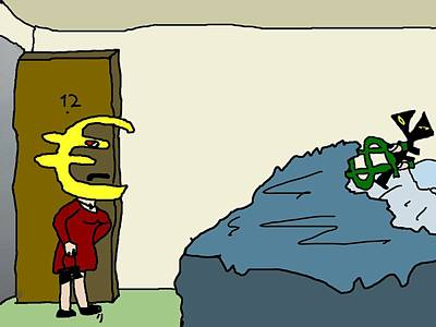 Economy Mixed Media - Euro Walks In On Buck In Bed With Yen by Binary Options