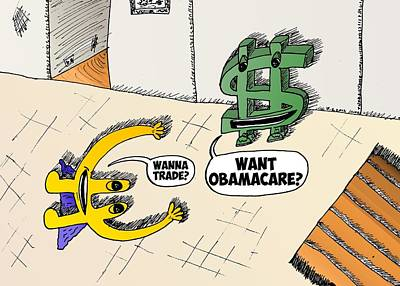 Obamacare Mixed Media - Euroman And Buck Wanna Trade by OptionsClick BlogArt