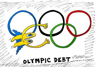 Financial Mixed Media - Euroman Olympic Debt by OptionsClick BlogArt
