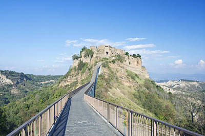 Crosswalk Photograph - Europe Italy Umbria Civita Bridge by Rob Tilley