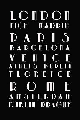 Typography Map Photograph - European Cities - Bus Roll by Georgia Fowler