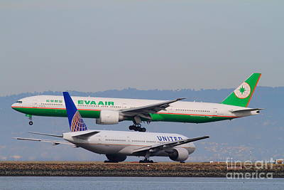 Eva Airways And United Airlines Jet Airplanes At San Francisco International Airport Sfo . 7d12256 Art Print by Wingsdomain Art and Photography