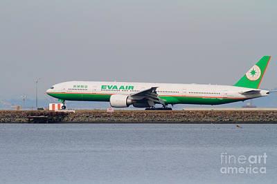 Eva Airways Jet Airplane At San Francisco International Airport Sfo . 7d12260 Art Print by Wingsdomain Art and Photography