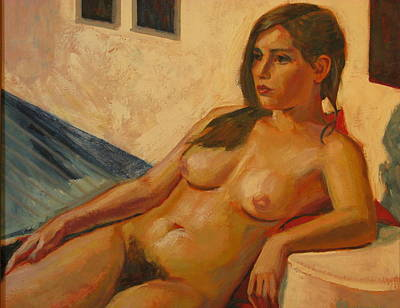 Painting - Eva Reclining by Sid Solomon