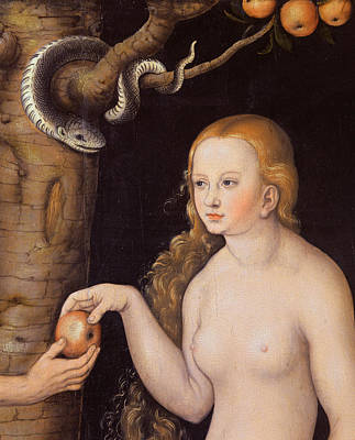 Apple Painting - Eve Offering The Apple To Adam In The Garden Of Eden And The Serpent by Cranach