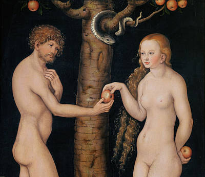 Outdoor Nude Painting - Eve Offering The Apple To Adam In The Garden Of Eden by The Elder Lucas Cranach