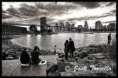 Art Print featuring the photograph Evening At Brooklyn Bridge by Jack Torcello