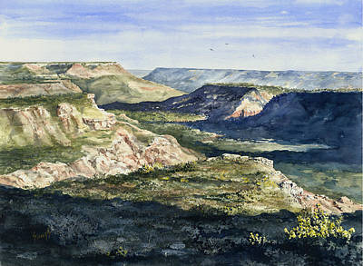 Canyons Painting - Evening Flight Over Palo Duro Canyon by Sam Sidders