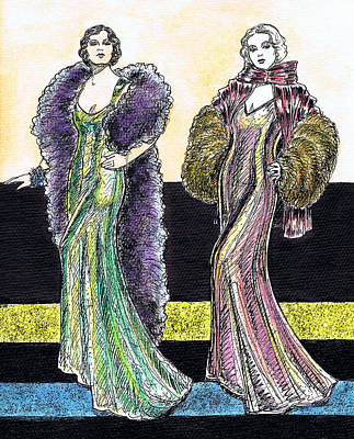 Evening Gowns Art Print by Mel Thompson