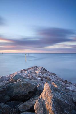 Y120831 Photograph - Evening Light On Stone Breakwater by Anthony Owen-Jones