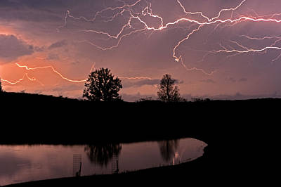 Evening Lightning Storm Original by Donna Caplinger