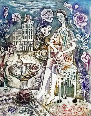 Girl Drawing - Evening by Milen Litchkov