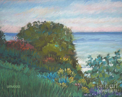 Beach Sunset Drawing - Evening On The Lake Erie Shore by Lisa Urankar