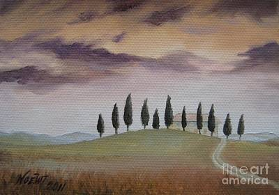 Print featuring the painting Evening Tuscany by Jindra Noewi