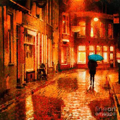 Store Fronts Painting - Evening Walk In The Rain by Elizabeth Coats