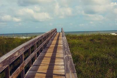 Florida Bridge Photograph - Evening Walk To The Beach by Toni Hopper