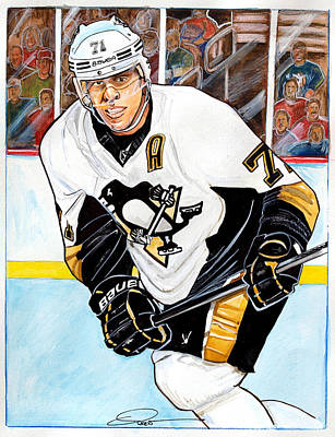 Nhl Hockey Drawing - Evgeni Malkin by Dave Olsen