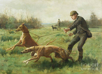 Dog Clothes Painting - Exercising Greyhounds by George Goodwin Kilburne