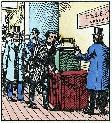 Exhibition Of Bell's Telephone, 1876 Art Print by Cci Archives