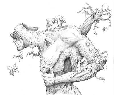 Cavern Drawing - Exodus  by Yanis Zambeis