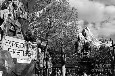 Photograph - Expedition Everest Animal Kingdom Walt Disney World Prints Black And White by Shawn O'Brien