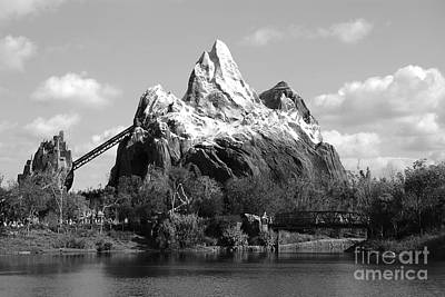 Photograph - Expedition Everest Profile Animal Kingdom Walt Disney World Prints Black And White by Shawn O'Brien