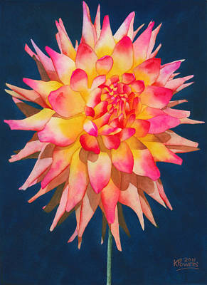 Painting - Exploding Lollipop Dahlia by Ken Powers