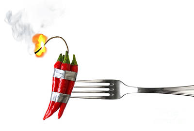 Chili Pepper Photograph - Explosive Food by Carlos Caetano