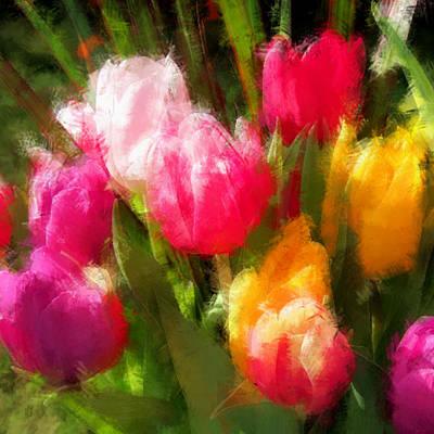 Expressionistic Spring Tulip Explosion Art Print