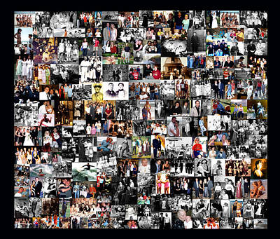 Extended Family Photo Collage Art Print by Maureen E Ritter
