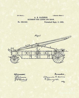 Drawing - Extension Fire Ladder 1895 Patent Art by Prior Art Design