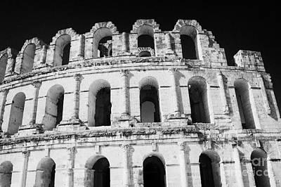 External View Of Three Upper Tiers Of Archways Of Old Roman Colloseum El Jem Tunisia Art Print by Joe Fox