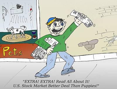 Editorial Cartoon Mixed Media - Extra Stock Market Headline by OptionsClick BlogArt
