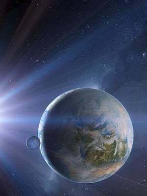 Extrasolar Earth-like Planet, Artwork Art Print by Detlev Van Ravenswaay