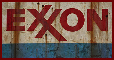 Photograph - Exxon Retro Grungy Rusty Sign by John Stephens