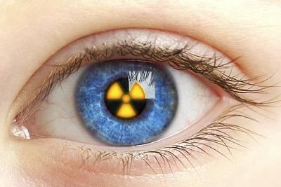 Eye With Radiation Warning Sign Art Print by Pasieka