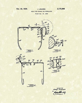Mirror Drawing - Eyeglass Mirror 1939 Patent Art by Prior Art Design