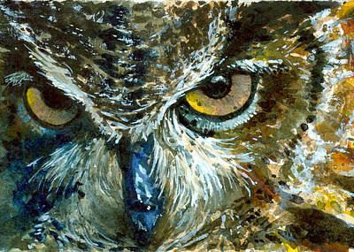 Painting - Eyes Of Owl's 16 by John D Benson