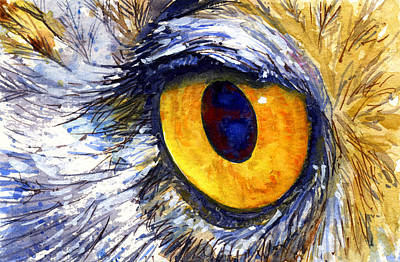 Painting - Eyes Of Owl's 7 by John D Benson