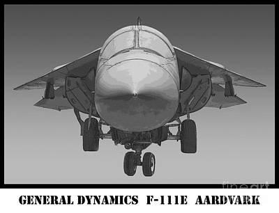 F-111e Aardvark Drawing Print by Tim Mulina