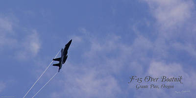 Photograph - F-15 Flyover At Grants Pass Text Version by Mick Anderson