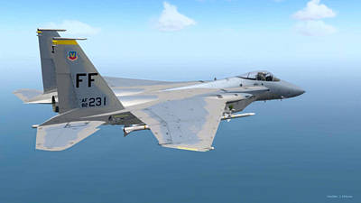 Digital Art - F-15 Strike Eagle by Walter Colvin