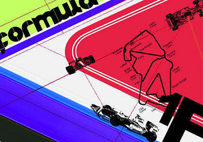 Circuit Digital Art - F1 by Naxart Studio