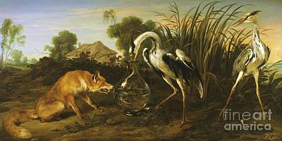 Painting - Fable Of The Fox And The Heron by Pg Reproductions