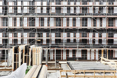 Facade Of Buildings Under Construction Art Print