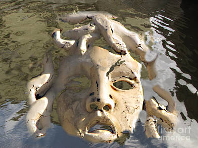 Unreal Mixed Media - Face In Woter by Yury Bashkin