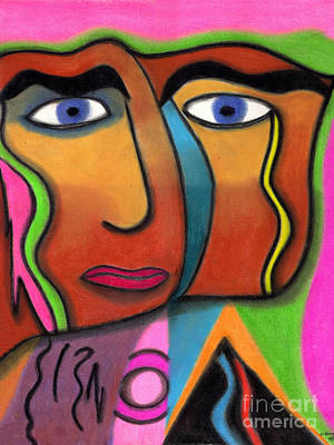 Art Print featuring the drawing Face With Pink And Green Background by Christine Perry