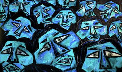 Popular Mixed Media - Faces - Light Blue by Karen Elzinga