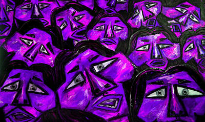 Faces - Purple Print by Karen Elzinga